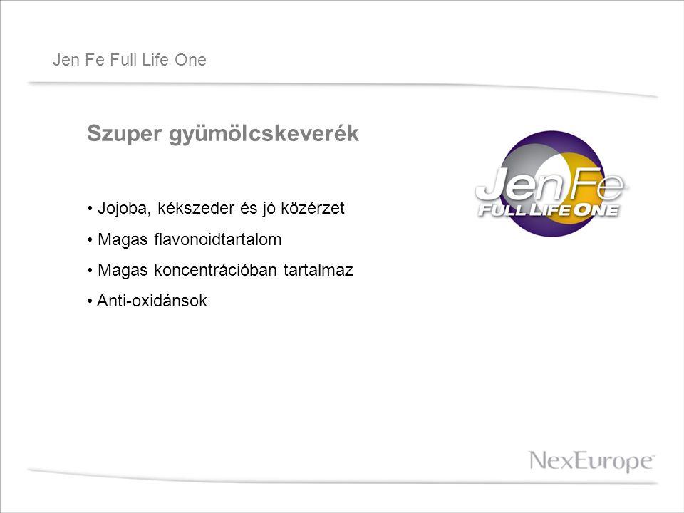 Jen Fe Full Life One Szuper gyümölcskeverék Jojoba, kékszeder és jó közérzet Magas flavonoidtartalom Magas koncentrációban tartalmaz Anti-oxidánsok