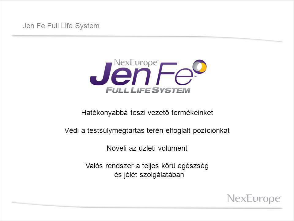 Jen Fe Full Life System Hatékonyabbá teszi vezető termékeinket Védi a testsúlymegtartás terén elfoglalt pozíciónkat Növeli az üzleti volument Valós re