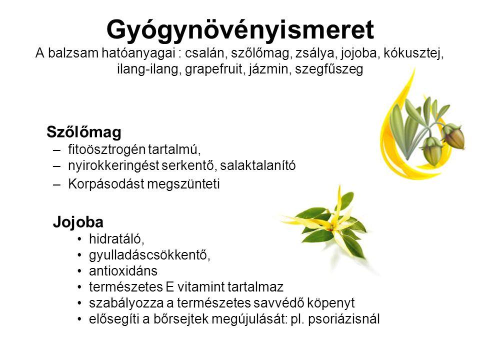 Gyógynövényismeret A balzsam hatóanyagai : csalán, szőlőmag, zsálya, jojoba, kókusztej, ilang-ilang, grapefruit, jázmin, szegfűszeg Szőlőmag –fitoöszt