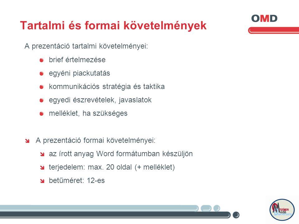 Tartalmi és formai követelmények A prezentáció tartalmi követelményei: brief értelmezése egyéni piackutatás kommunikációs stratégia és taktika egyedi észrevételek, javaslatok melléklet, ha szükséges  A prezentáció formai követelményei:  az írott anyag Word formátumban készüljön  terjedelem: max.
