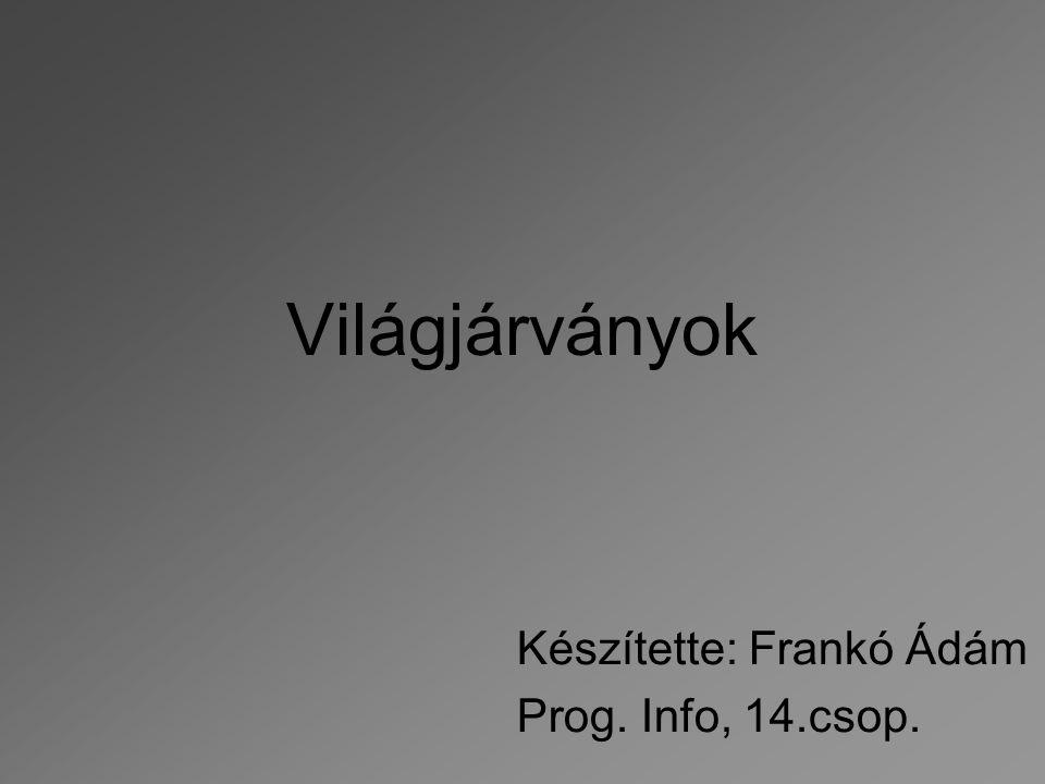 Világjárványok Készítette: Frankó Ádám Prog. Info, 14.csop.