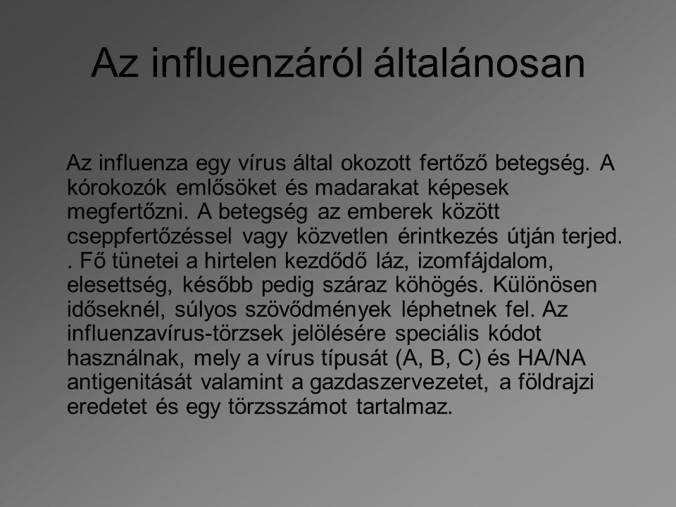 Az influenzáról általánosan Az influenza egy vírus által okozott fertőző betegség. A kórokozók emlősöket és madarakat képesek megfertőzni. A betegség