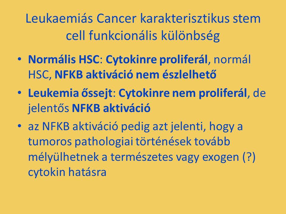 Leukaemiás Cancer karakterisztikus stem cell funkcionális különbség Normális HSC: Cytokinre proliferál, normál HSC, NFKB aktiváció nem észlelhető Leukemia őssejt: Cytokinre nem proliferál, de jelentős NFKB aktiváció az NFKB aktiváció pedig azt jelenti, hogy a tumoros pathologiai történések tovább mélyülhetnek a természetes vagy exogen ( ) cytokin hatásra