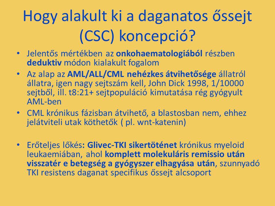 Hogy alakult ki a daganatos őssejt (CSC) koncepció? Jelentős mértékben az onkohaematologiából részben deduktiv módon kialakult fogalom Az alap az AML/