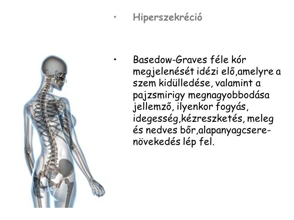 Hiperszekréció Basedow-Graves féle kór megjelenését idézi elő,amelyre a szem kidülledése, valamint a pajzsmirigy megnagyobbodása jellemző, ilyenkor fo