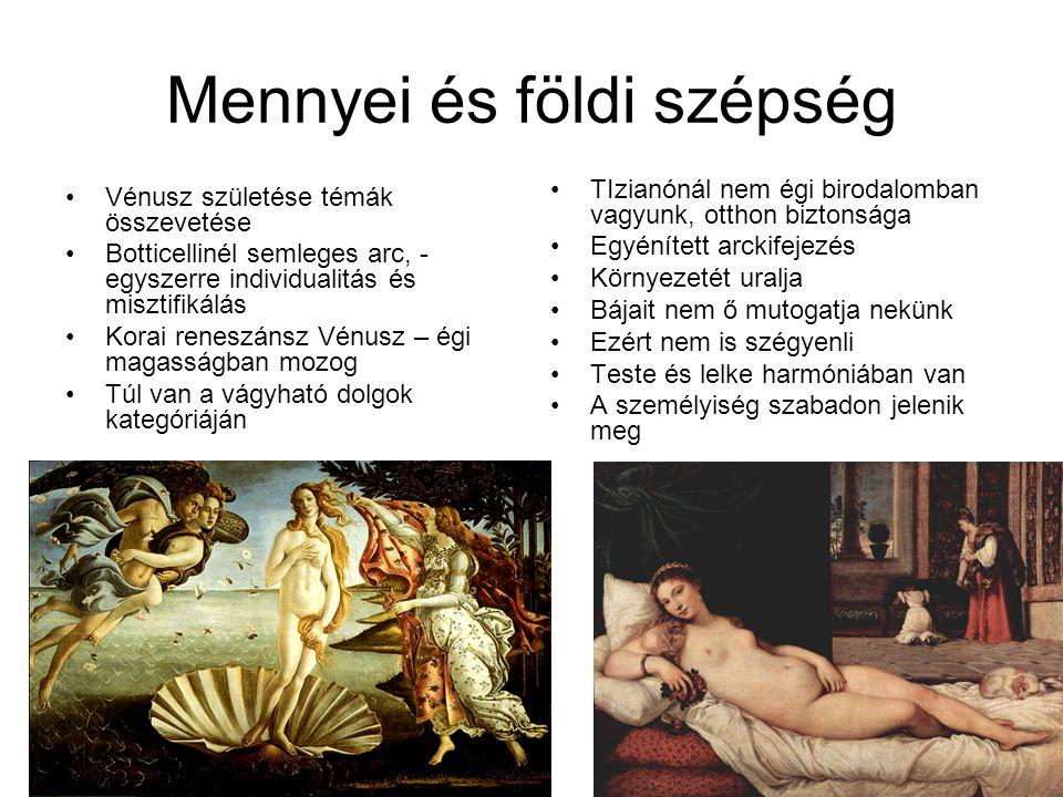 Mennyei és földi szépség Vénusz születése témák összevetése Botticellinél semleges arc, - egyszerre individualitás és misztifikálás Korai reneszánsz V