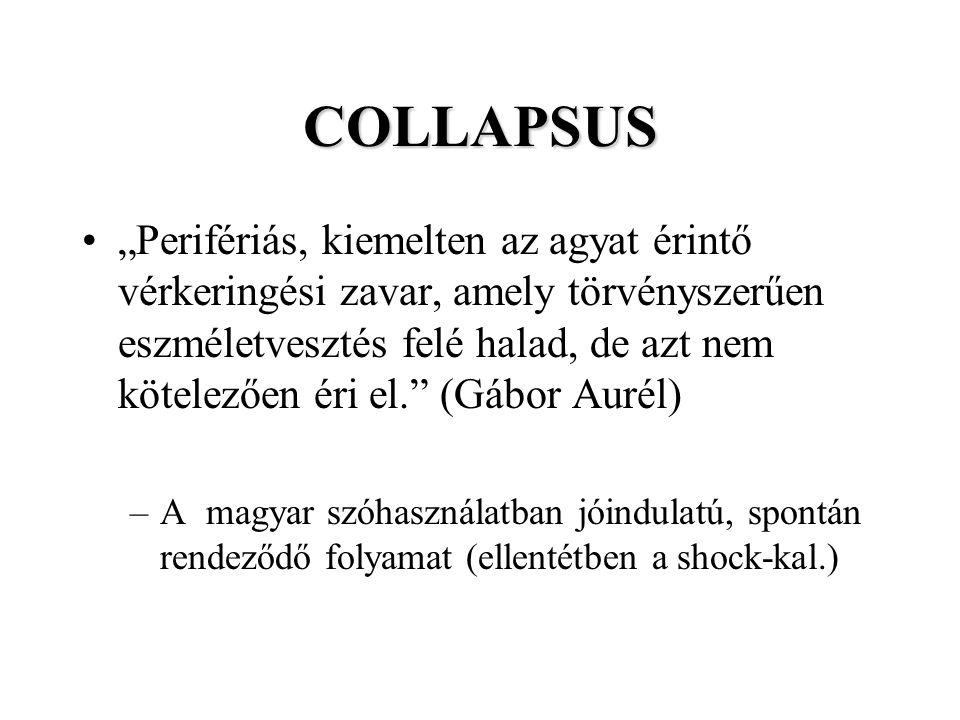 """COLLAPSUS """"Perifériás, kiemelten az agyat érintő vérkeringési zavar, amely törvényszerűen eszméletvesztés felé halad, de azt nem kötelezően éri el."""" ("""