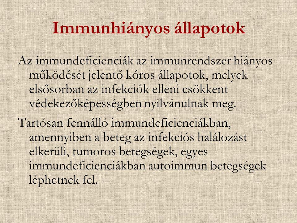 A védekező képesség defektusai - leggyakoribb kórokozók DefektusKórokozók Bőr Staphylo-, streptoc, Gram neg, Candida Nyálkahártya viridans strepto, CNS, anaerobok, HSV, Ps, Candida Komplement S pn, H infl, N mening, S au, Ps Granulocytopenia viridans strepto, S au, CNS, Gram neg, Candida, Aspergillus Sejtes immunválasz Vírusok (herpes vírus család) Baktériumok (Mycobact, Listeria, Salmonella, Legionella) Gombák (Candida, Histopl, Cryptococcus) Paraziták (P carinii, Toxo, Cryptosp, Leishmania) Humorális immunválasz S pn, egyéb strepto, H infl, N mening, P carinii