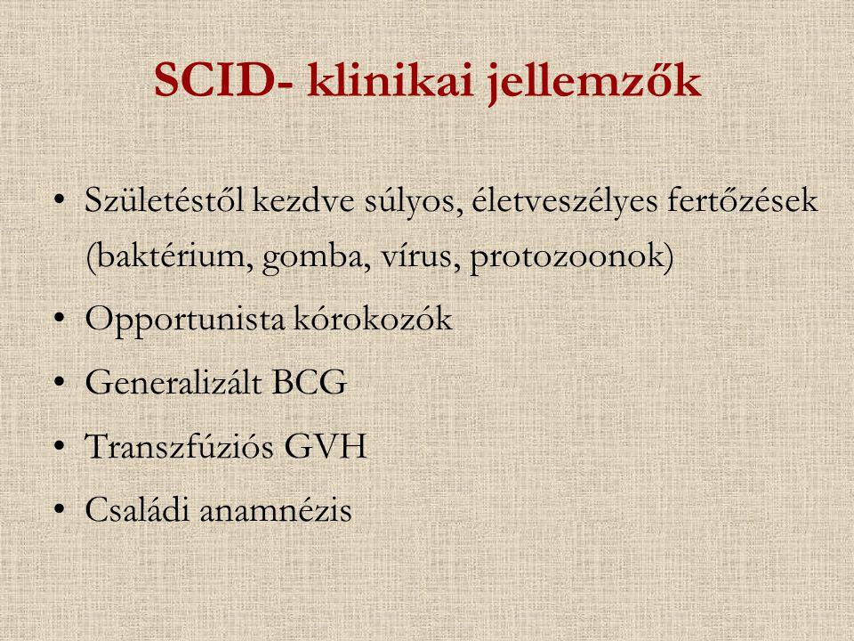 SCID- klinikai jellemzők Születéstől kezdve súlyos, életveszélyes fertőzések (baktérium, gomba, vírus, protozoonok) Opportunista kórokozók Generalizál