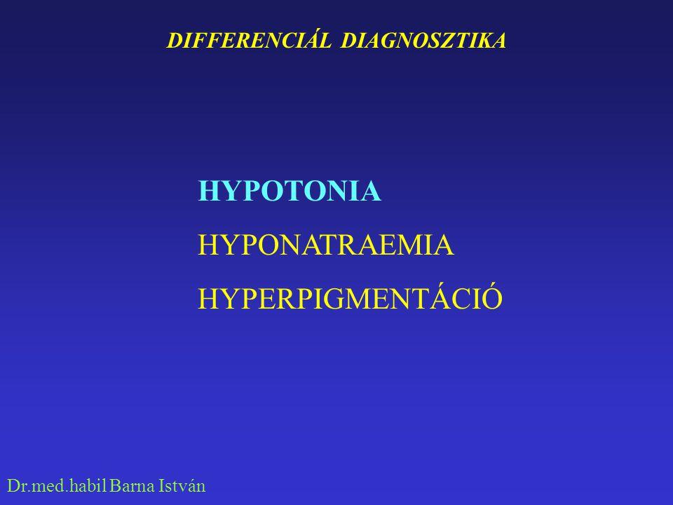 Dr.med.habil Barna István A HYPOTONIA OKAI SZÍV EREDET (Galoppritmus, fájdalom, zörej) Pulmonalis embolia, szívinfarctus, ao.stenosis, mitralis stenosis, constrictiv pericarditis, carotis sinus hyperesthesia, cardiovascularis autonom neuropathia GASTROINTESTINALIS EREDET Hiánybetegség, Whipple-kór, Sprue, carcinoid-syndroma