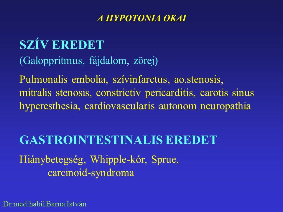 Dr.med.habil Barna István A HYPOTONIA OKAI FERTŐZŐ EREDET Sepsis, krónikus infekciók, shock HAEMATOLOGIA EREDET Vérzés, (vashiány) ENDOKRIN EREDET Addison, hypothyreosis, Simmonds-kór, (TSH  +GH , FSH  ) phaemochromocytoma