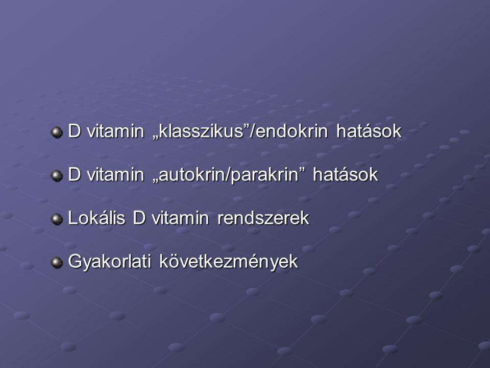 """D vitamin """"klasszikus""""/endokrin hatások D vitamin """"autokrin/parakrin"""" hatások Lokális D vitamin rendszerek Gyakorlati következmények"""