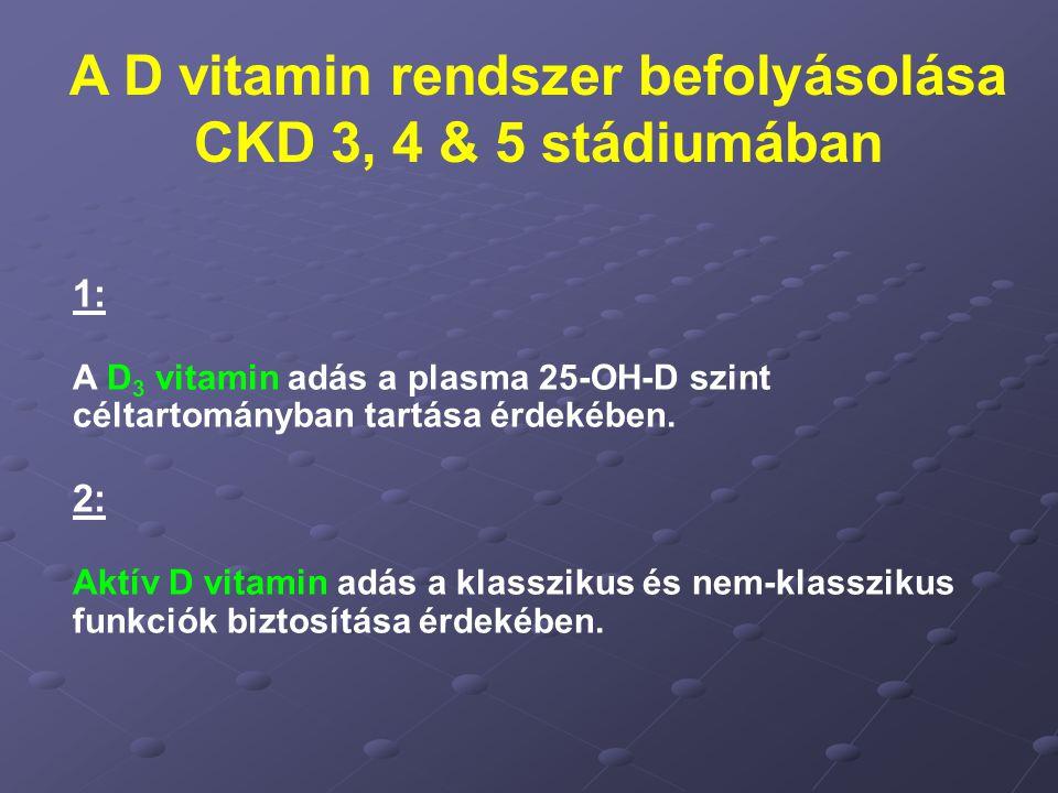 A D vitamin rendszer befolyásolása CKD 3, 4 & 5 stádiumában 1: A D 3 vitamin adás a plasma 25-OH-D szint céltartományban tartása érdekében. 2: Aktív D