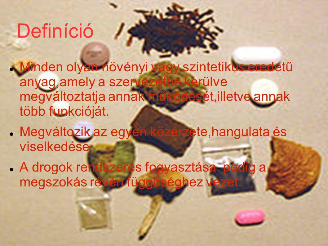 Definíció Minden olyan növényi vagy szintetikus eredetű anyag,amely a szervezetbe kerülve megváltoztatja annak működését,illetve annak több funkcióját