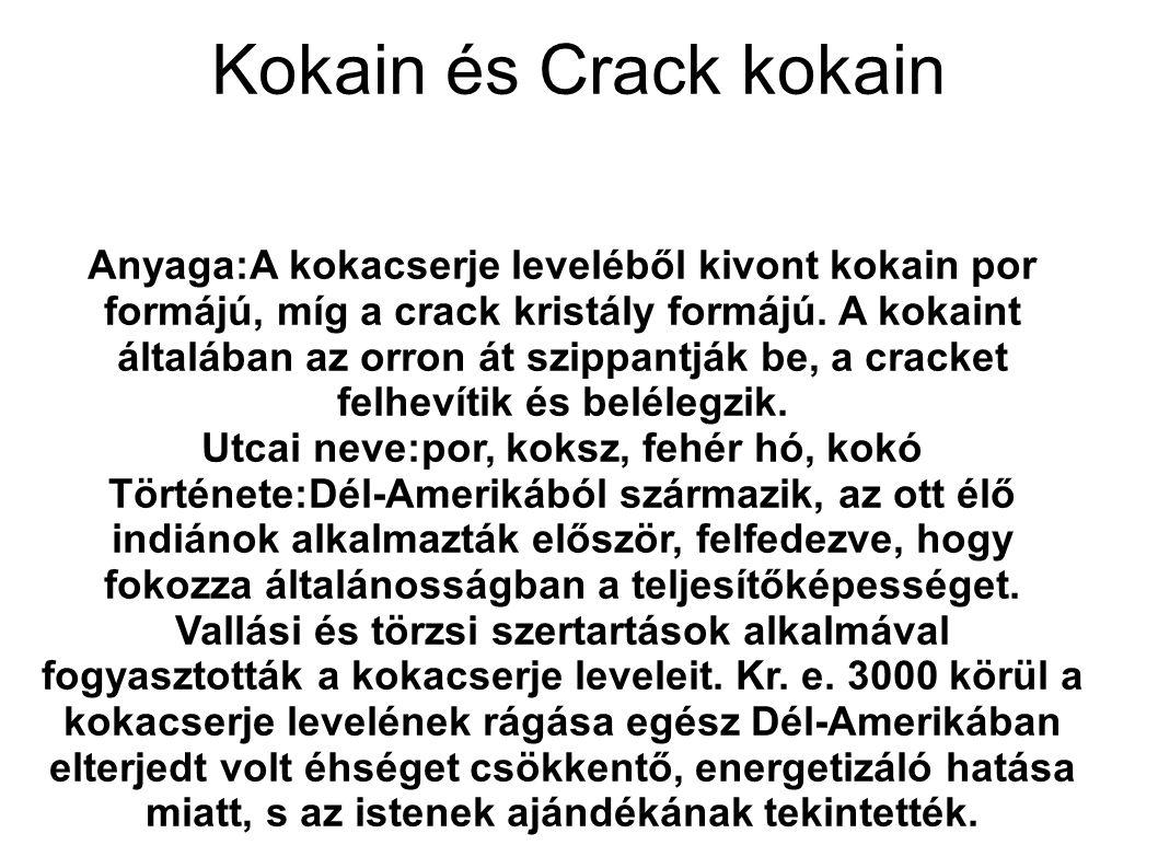 Kokain és Crack kokain Anyaga:A kokacserje leveléből kivont kokain por formájú, míg a crack kristály formájú. A kokaint általában az orron át szippant