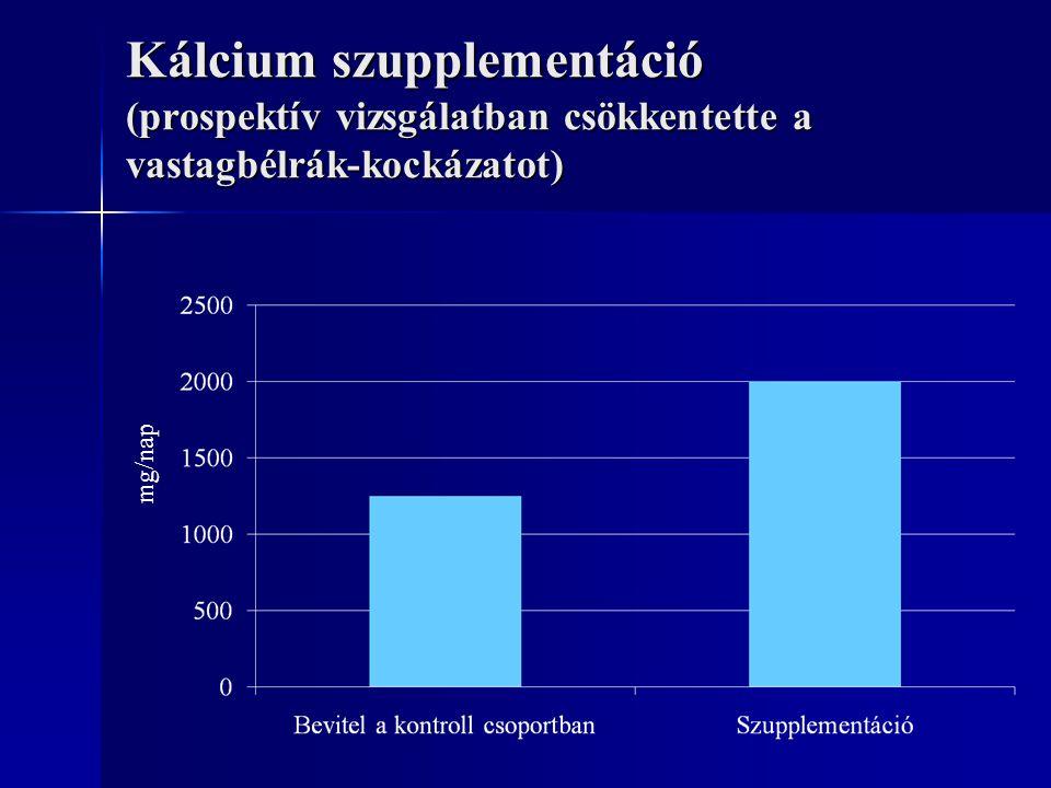 Kálcium szupplementáció (prospektív vizsgálatban csökkentette a vastagbélrák-kockázatot) mg/nap