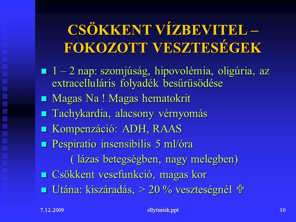 7.12.2009ellytmisk.ppt10 CSÖKKENT VÍZBEVITEL – FOKOZOTT VESZTESÉGEK 1 – 2 nap: szomjúság, hipovolémia, oligúria, az extracelluláris folyadék besűrüsöd