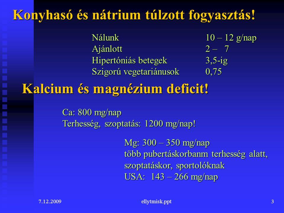 7.12.2009ellytmisk.ppt3 Konyhasó és nátrium túlzott fogyasztás! Nálunk10 – 12 g/nap Ajánlott 2 – 7 Hipertóniás betegek 3,5-ig Szigorú vegetariánusok0,