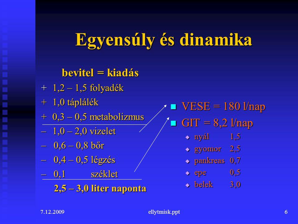 7.12.2009ellytmisk.ppt6 Egyensúly és dinamika bevitel = kiadás +1,2 – 1,5 folyadék +1,0 táplálék +0,3 – 0,5 metabolizmus – 1,0 – 2,0 vizelet – 0,6 – 0