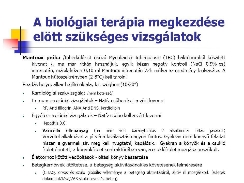 A biológiai terápia megkezdése elött szükséges vizsgálatok Mantoux próba /tuberkulózist okozó Mycobacter tuberculosis (TBC) baktériumból készített kiv