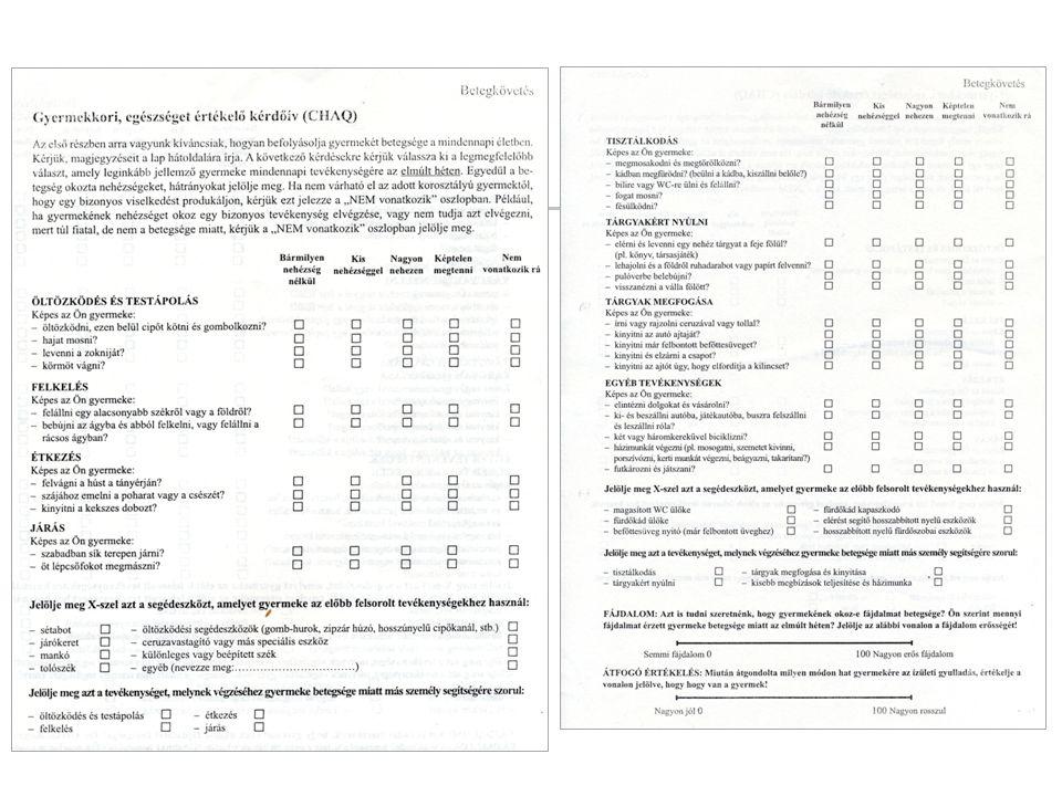 Aktív és mozgáskorlátozott ízületek dokumentálása Giannini szerinti javulási kritériumok az aktív ízületek száma mozgáskorlátozott ízületek száma az orvos globális véleménye a betegség aktivitásáról (VAS skála) a beteg ill.
