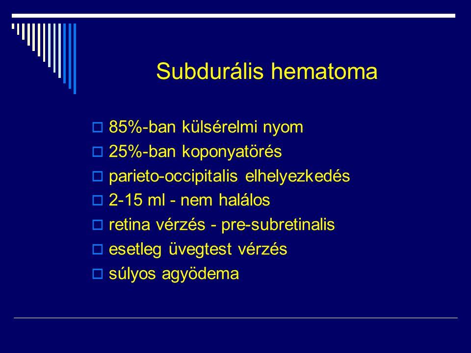 Subdurális hematoma  85%-ban külsérelmi nyom  25%-ban koponyatörés  parieto-occipitalis elhelyezkedés  2-15 ml - nem halálos  retina vérzés - pre