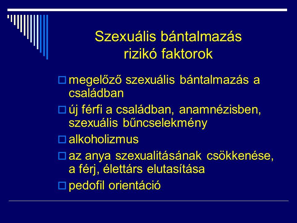 Szexuális bántalmazás rizikó faktorok  megelőző szexuális bántalmazás a családban  új férfi a családban, anamnézisben, szexuális bűncselekmény  alk