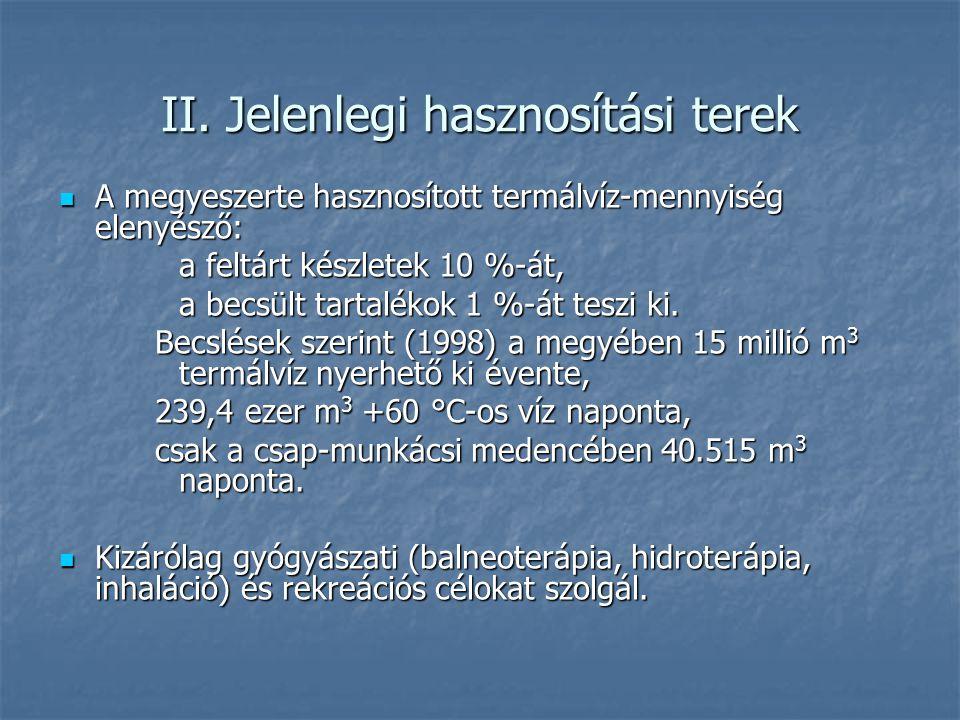 II. Jelenlegi hasznosítási terek A megyeszerte hasznosított termálvíz-mennyiség elenyésző: A megyeszerte hasznosított termálvíz-mennyiség elenyésző: a