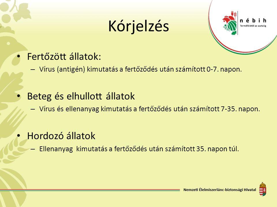 Kórjelzés Fertőzött állatok: – Vírus (antigén) kimutatás a fertőződés után számított 0-7. napon. Beteg és elhullott állatok – Vírus és ellenanyag kimu