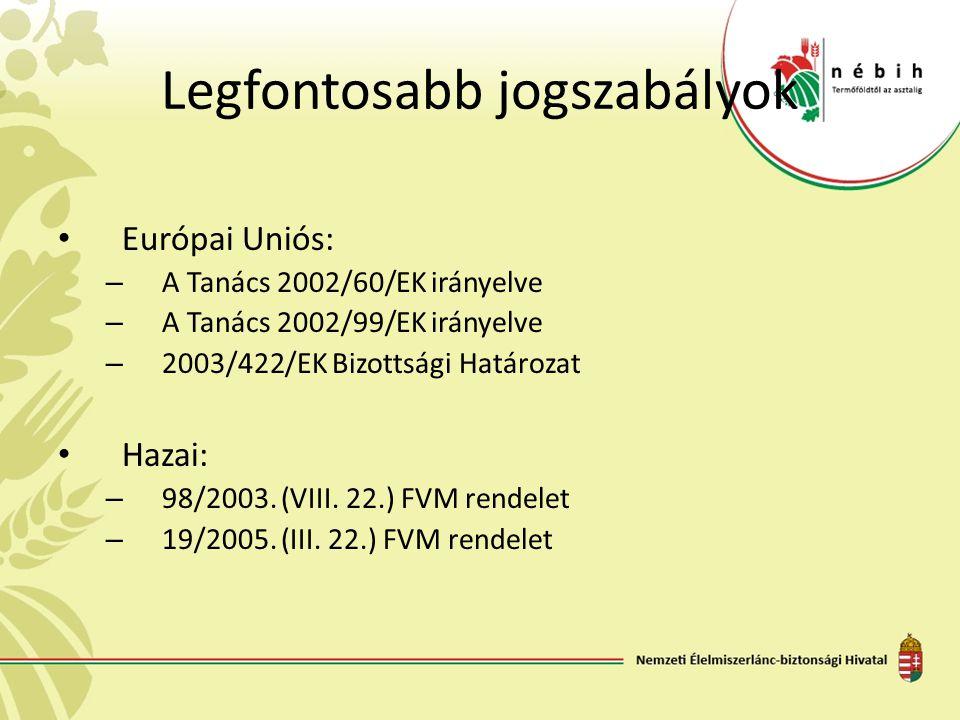 Legfontosabb jogszabályok Európai Uniós: – A Tanács 2002/60/EK irányelve – A Tanács 2002/99/EK irányelve – 2003/422/EK Bizottsági Határozat Hazai: – 9