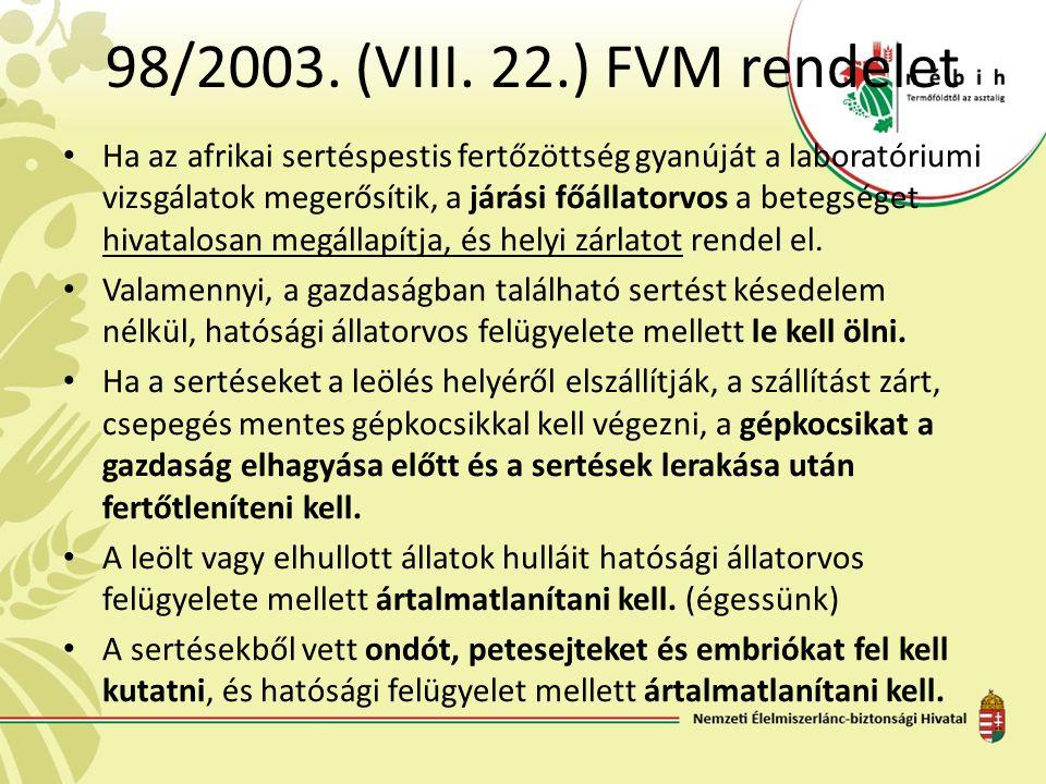 98/2003. (VIII. 22.) FVM rendelet Ha az afrikai sertéspestis fertőzöttség gyanúját a laboratóriumi vizsgálatok megerősítik, a járási főállatorvos a be
