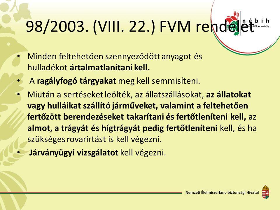 98/2003. (VIII. 22.) FVM rendelet Minden feltehetően szennyeződött anyagot és hulladékot ártalmatlanítani kell. A ragályfogó tárgyakat meg kell semmis
