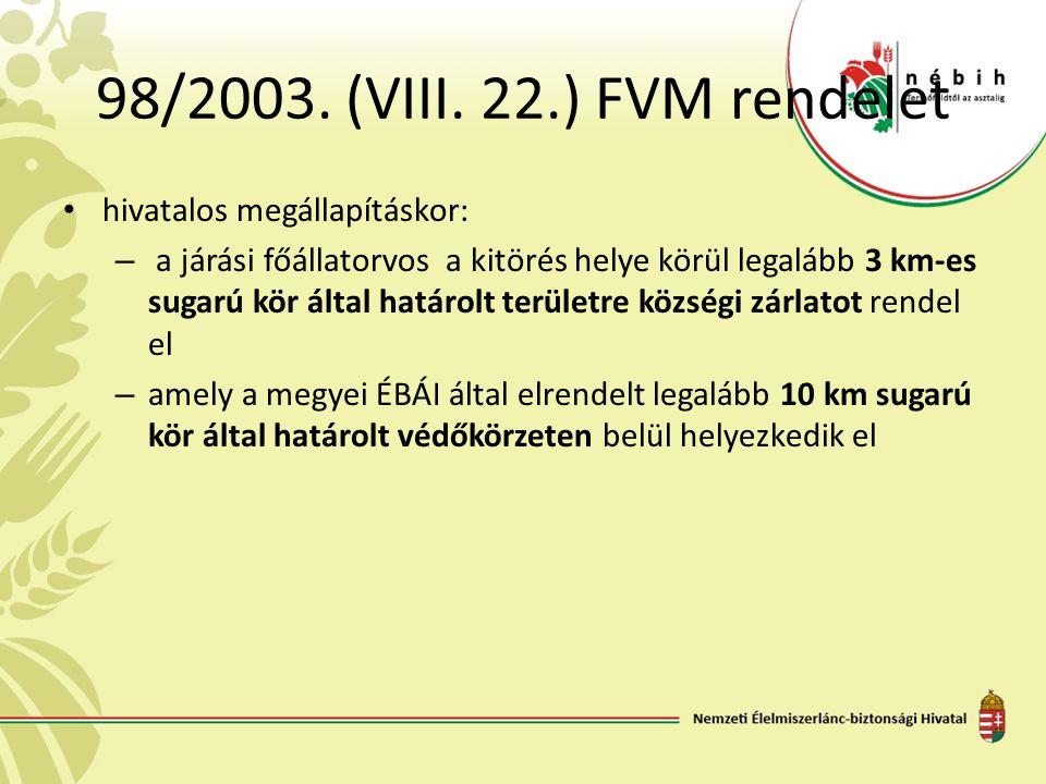98/2003. (VIII. 22.) FVM rendelet hivatalos megállapításkor: – a járási főállatorvos a kitörés helye körül legalább 3 km-es sugarú kör által határolt