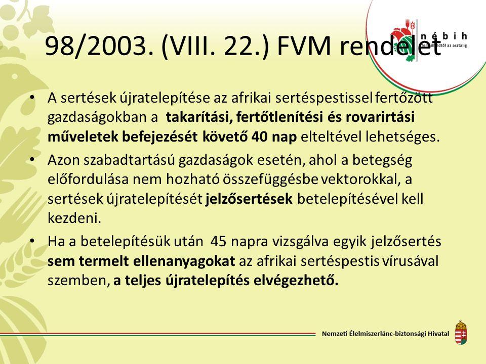 98/2003. (VIII. 22.) FVM rendelet A sertések újratelepítése az afrikai sertéspestissel fertőzött gazdaságokban a takarítási, fertőtlenítési és rovarir