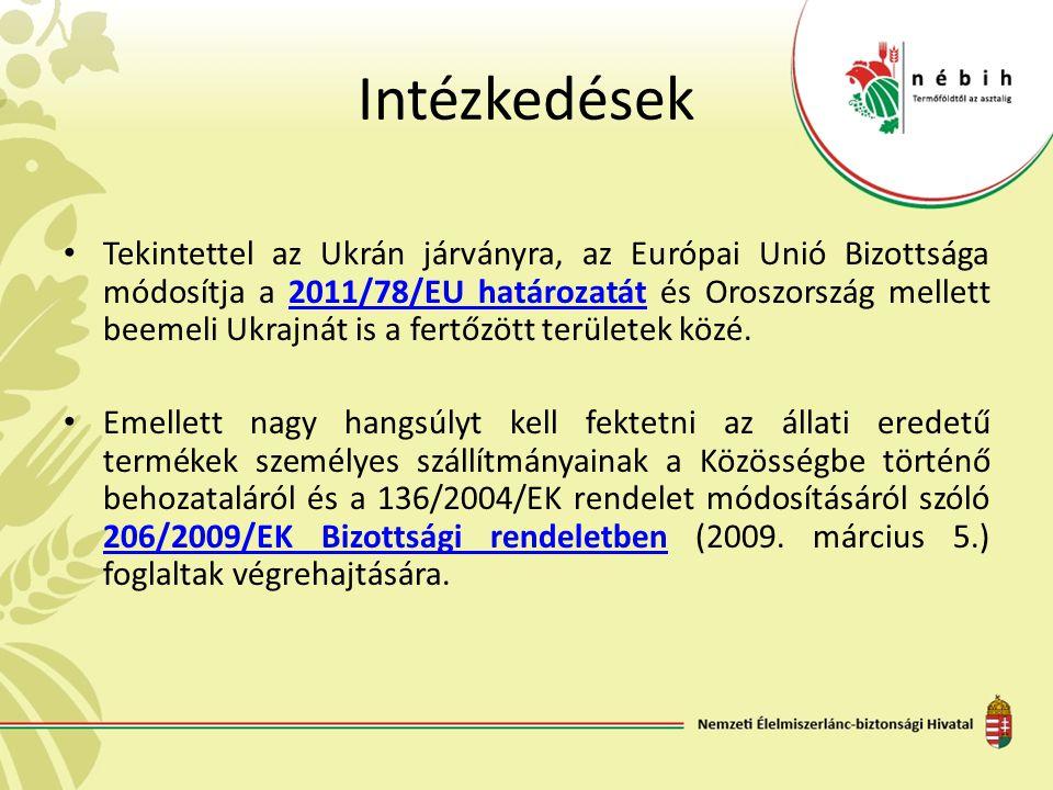 Intézkedések Tekintettel az Ukrán járványra, az Európai Unió Bizottsága módosítja a 2011/78/EU határozatát és Oroszország mellett beemeli Ukrajnát is