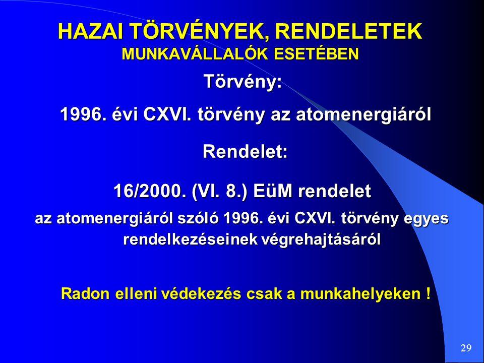 HAZAI TÖRVÉNYEK, RENDELETEK MUNKAVÁLLALÓK ESETÉBEN Törvény: 29 16/2000. (VI. 8.) EüM rendelet az atomenergiáról szóló 1996. évi CXVI. törvény egyes re