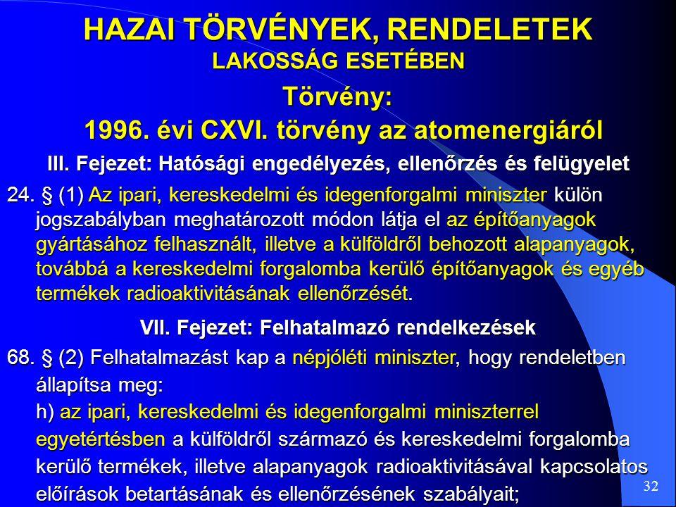 HAZAI TÖRVÉNYEK, RENDELETEK LAKOSSÁG ESETÉBEN Törvény: 32 24. § (1) Az ipari, kereskedelmi és idegenforgalmi miniszter külön jogszabályban meghatározo