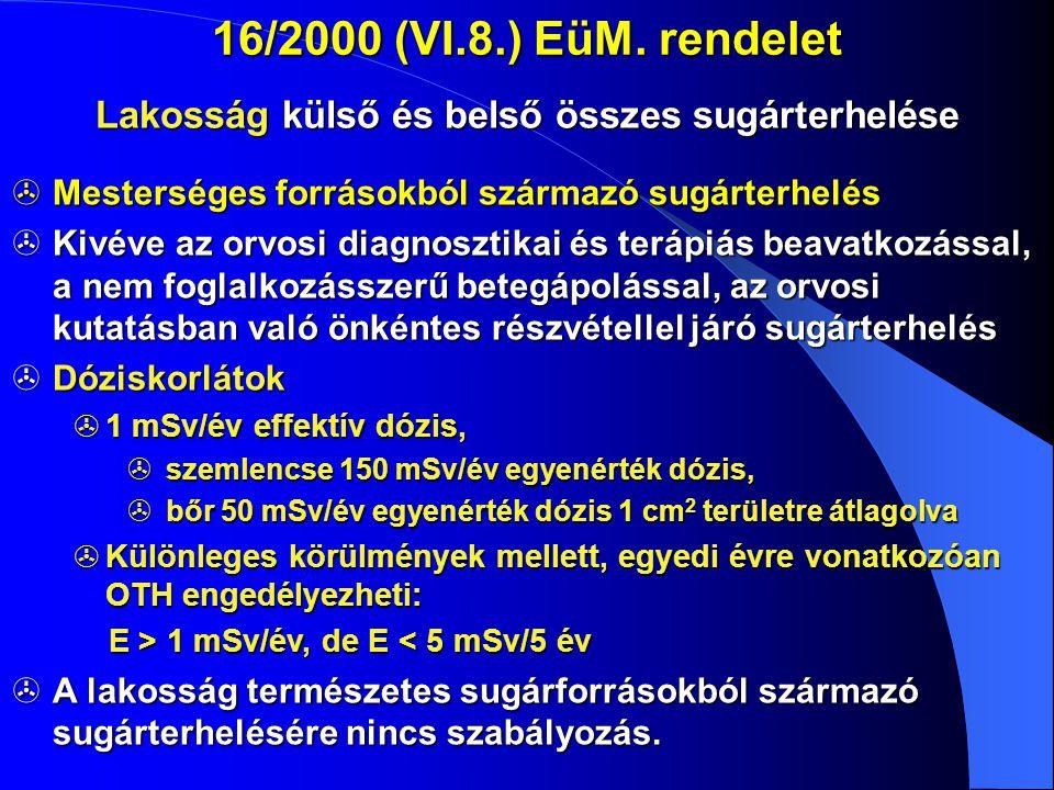 16/2000 (VI.8.) EüM. rendelet Lakosság külső és belső összes sugárterhelése  Mesterséges forrásokból származó sugárterhelés  Kivéve az orvosi diagno