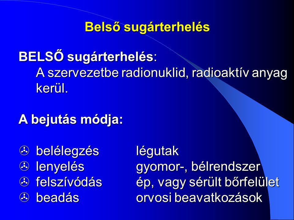 BELSŐ sugárterhelés: A szervezetbe radionuklid, radioaktív anyag kerül. A szervezetbe radionuklid, radioaktív anyag kerül. A bejutás módja:  belélegz