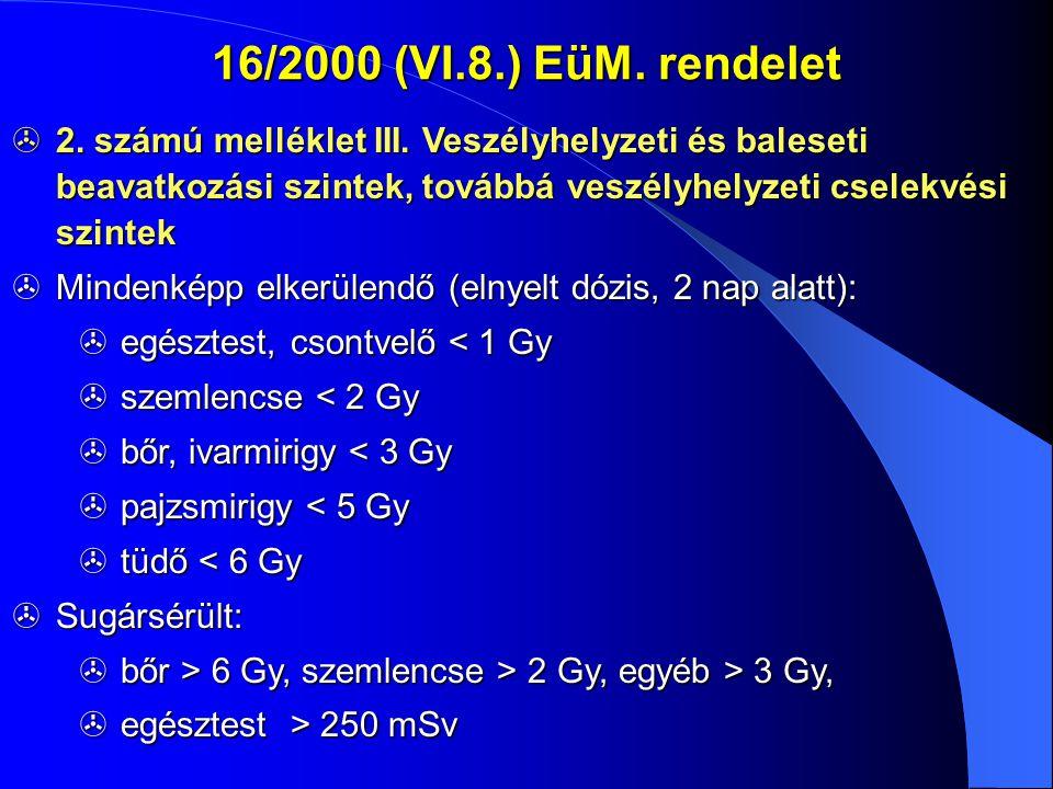 Elkerülhető dózis totototo t o : a beavatkozás kezdete 16/2000 (VI.8.) EüM.