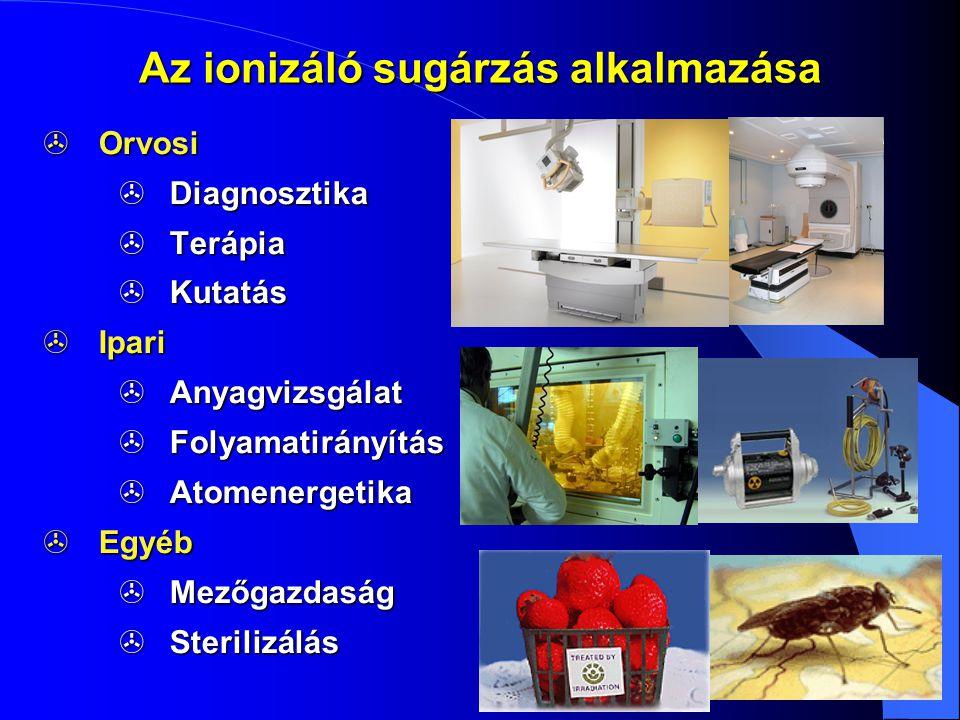 Az ionizáló sugárzás alkalmazása  Orvosi  Diagnosztika  Terápia  Kutatás  Ipari  Anyagvizsgálat  Folyamatirányítás  Atomenergetika  Egyéb  M