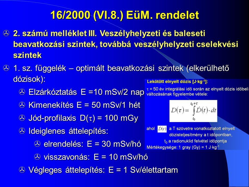 16/2000 (VI.8.) EüM. rendelet  2. számú melléklet III. Veszélyhelyzeti és baleseti beavatkozási szintek, továbbá veszélyhelyzeti cselekvési szintek 