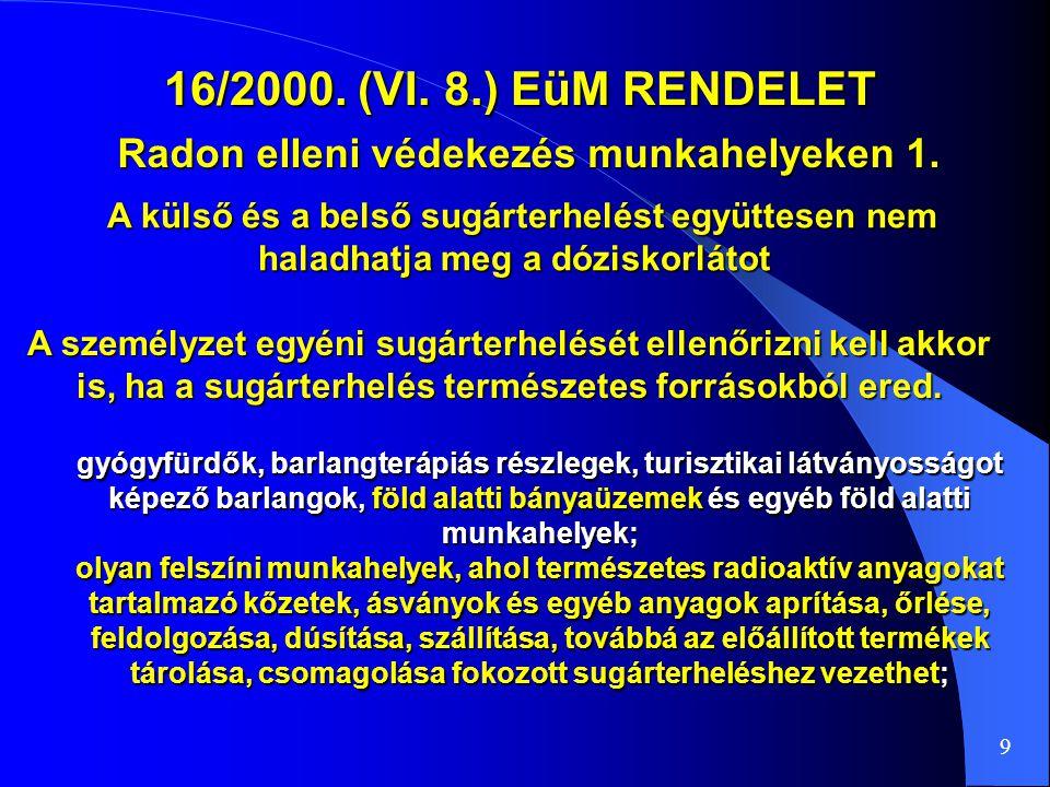 16/2000. (VI. 8.) EüM RENDELET Radon elleni védekezés munkahelyeken 1. 9 A személyzet egyéni sugárterhelését ellenőrizni kell akkor is, ha a sugárterh