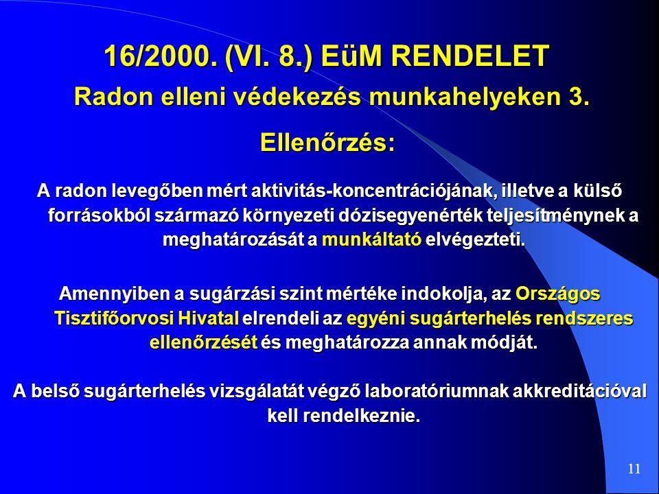 16/2000. (VI. 8.) EüM RENDELET Radon elleni védekezés munkahelyeken 3. 11 A radon levegőben mért aktivitás-koncentrációjának, illetve a külső források