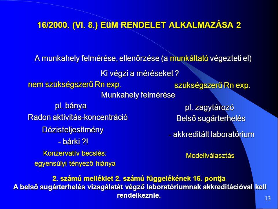 16/2000. (VI. 8.) EüM RENDELET ALKALMAZÁSA 2 A munkahely felmérése, ellenőrzése (a munkáltató végezteti el) Ki végzi a méréseket ? Radon aktivitás-kon