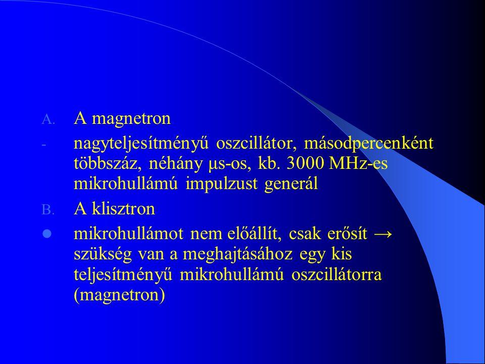 A. A magnetron - nagyteljesítményű oszcillátor, másodpercenként többszáz, néhány μs-os, kb. 3000 MHz-es mikrohullámú impulzust generál B. A klisztron