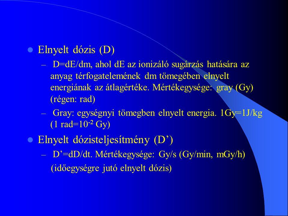 Elnyelt dózis (D) – D=dE/dm, ahol dE az ionizáló sugárzás hatására az anyag térfogatelemének dm tömegében elnyelt energiának az átlagértéke. Mértékegy
