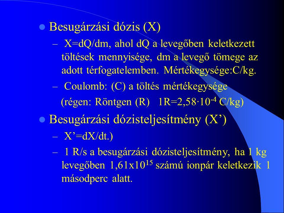 Besugárzási dózis (X) – X=dQ/dm, ahol dQ a levegőben keletkezett töltések mennyisége, dm a levegő tömege az adott térfogatelemben. Mértékegysége:C/kg.