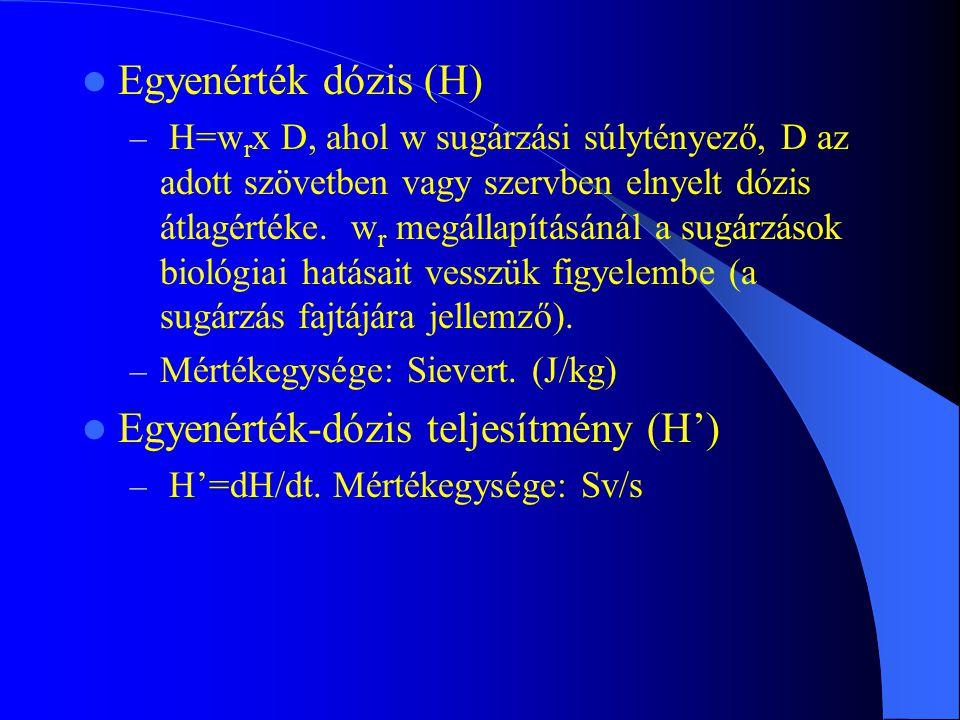 Egyenérték dózis (H) – H=w r x D, ahol w sugárzási súlytényező, D az adott szövetben vagy szervben elnyelt dózis átlagértéke. w r megállapításánál a s
