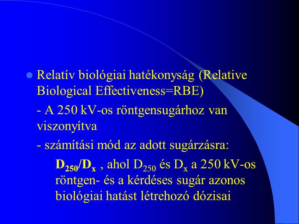 Relatív biológiai hatékonyság (Relative Biological Effectiveness=RBE) - A 250 kV-os röntgensugárhoz van viszonyítva - számítási mód az adott sugárzásr